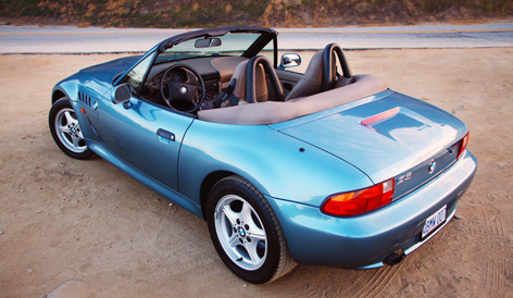 BMW Z3 in Atlanta Blue with tan interior and five-point grooved wheels