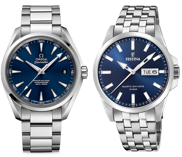 Compare Omega Seamaster Aqua Terra Festina watch alternative budget