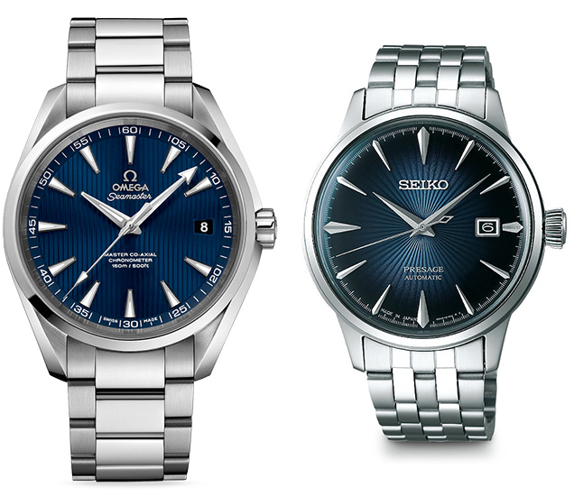 Compare Omega Aqua Terra and Seiko Presage SRPB41J1 affordable alternative