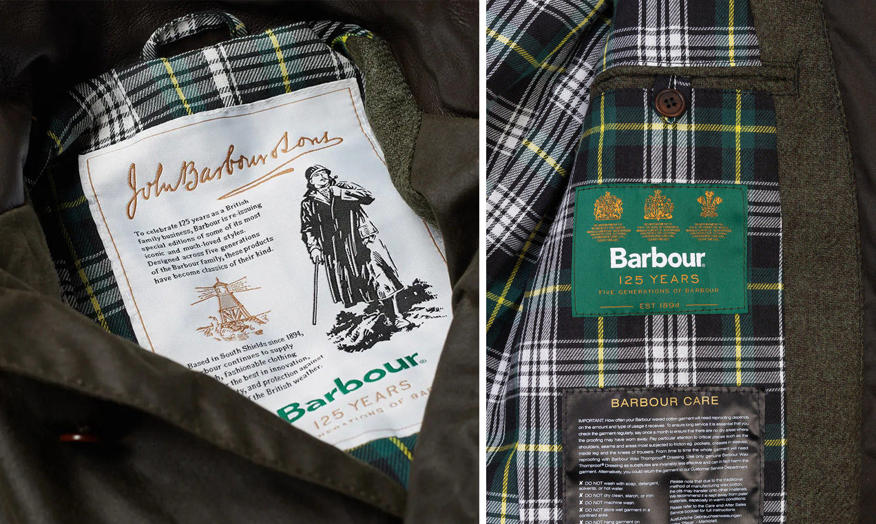 Barbour 125th anniversary beacon heritage sports jacket label tartan lining