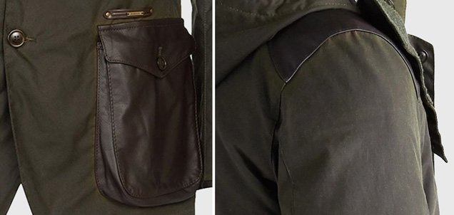Barbour Supa Commander leather pockets and shoulder patches