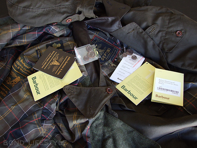 Barbour X To Ki To Commander jacket spare buttons, a gold green Barbour pin, warranty and service cards