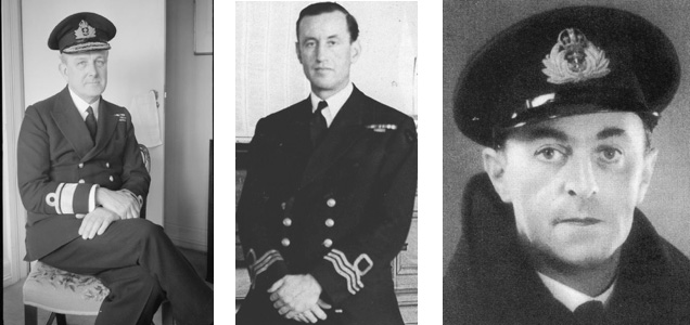 Rear Admiral John Godfrey, Lt. Commander Ian Fleming and Lt. Commander Ewen Montagu