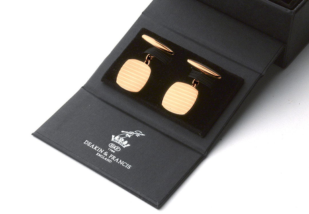 Anthony Sinclair Deakin Francis Cufflinks Gold Plated Silver Box