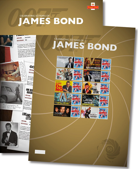 Royal Mail Commemorative James Bond Stamp Sheet Bond