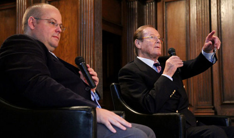 Gareth Owen and Sir Roger Moore