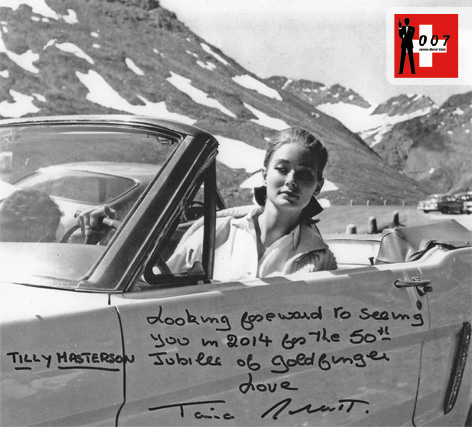 Tania Mallet as Tilly Masterston on location in Switzerland signed foto for James Bond Club Schweiz
