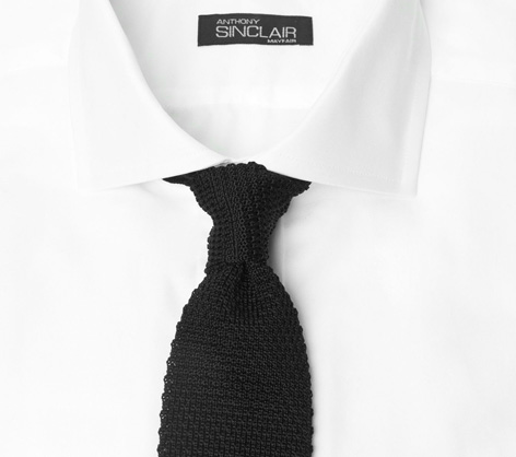Black knitted tie anthony sinclair shirt