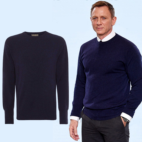 Daniel Craig wears an N Peal Oxford sweater