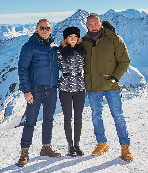 daniel craig lea seydoux and dave bautista solden photocall james bond spectre