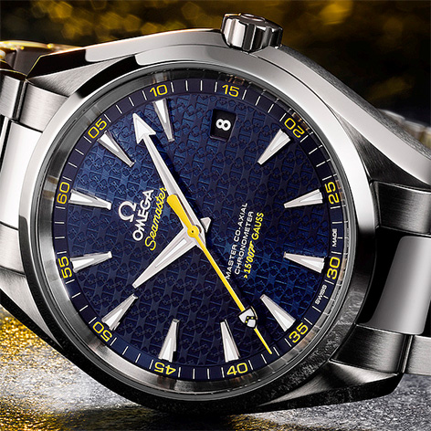 Omega Seamaster Aqua Terra 150m dial details coat of arms james bond