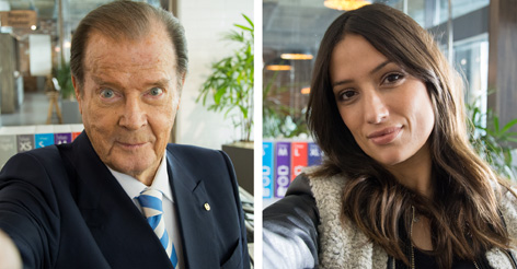 Sir Roger Moore and Melanie Winiger selfies from the set