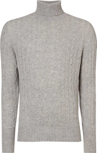n peal cable roll neck sweater fumo grey