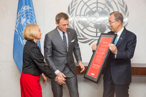 james bond daniel craig united nations ban ki moon global advocate mines