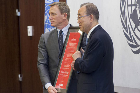 james bond daniel craig united nations ban ki moon global advocate mines 2