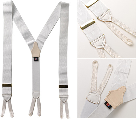 Albert Thurston White Moire braces suspenders