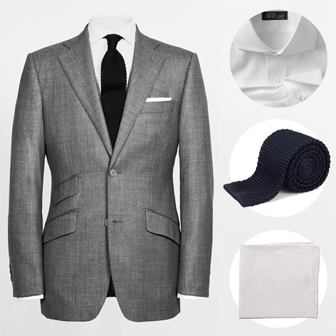 Anthony Sinclair sharkskin grey conduit cut suit special offer