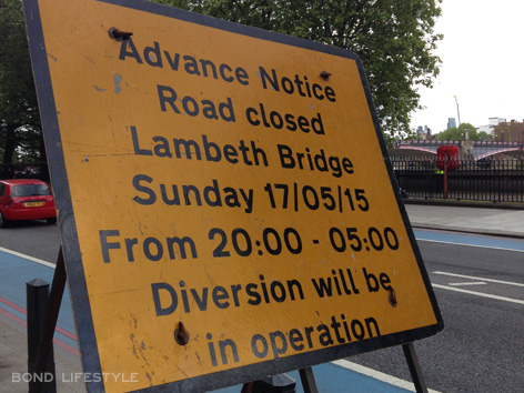 lambeth bridge spectre filming closed