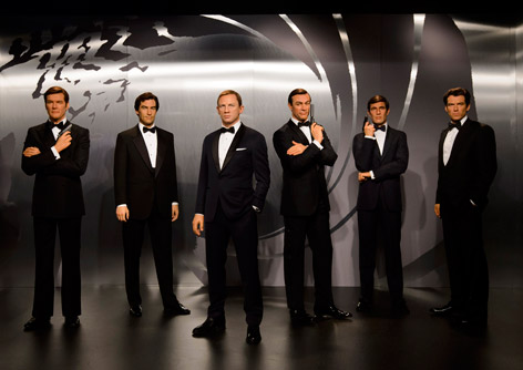 Sixe James Bond figures at Madame Tussauds London