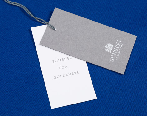 Goldeneye Sunspel polo blue labels