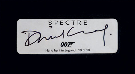 signed by daniel craig aston martin db10 plaque