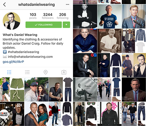 what's daniel craig wearing instagram
