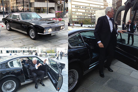 george lazenby oslo arriving aston martin dbs