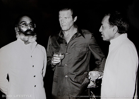 Arvind Singh Mewar - Mr. Roger Moore - Maharana Bhagwat Singh Mewar Cocktail party hosted by Maharana Bhagwat Singh of Mewar for Mr. Roger Moore and the Octopussy cast and crew.