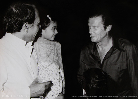 Maharana Bhagwat Singh Mewar - Princess Bhargavi Kumari - Mr. Roger Moore Cocktail party hosted by Maharana Bhagwat Singh Mewar for Mr. Roger Moore and the Octopussy cast and crew.
