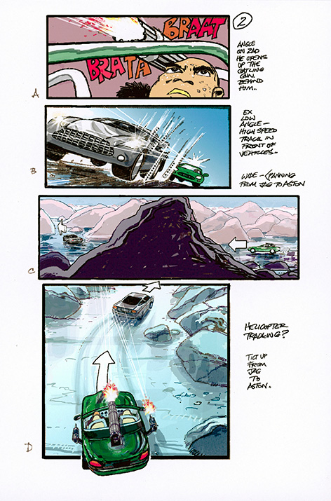 James Bond Die Another Day storyboard drawing