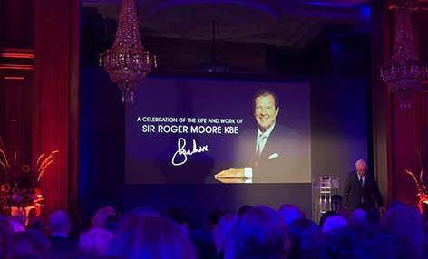 pinewood studios roger moore stage michael caine tribute