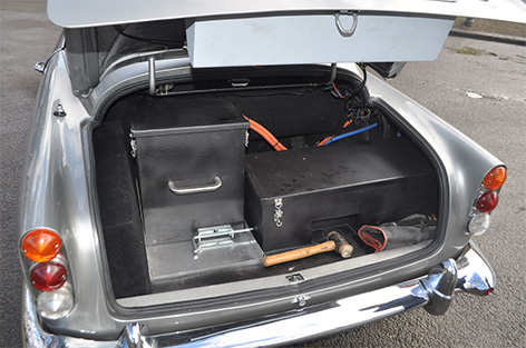 Aston Martin DB5 with goldfinger modifications for sale boot trunk gadgets built-in
