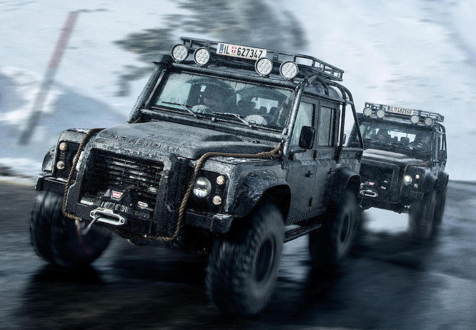 Land Rover Defender SVX in SPECTRE Austria mountains