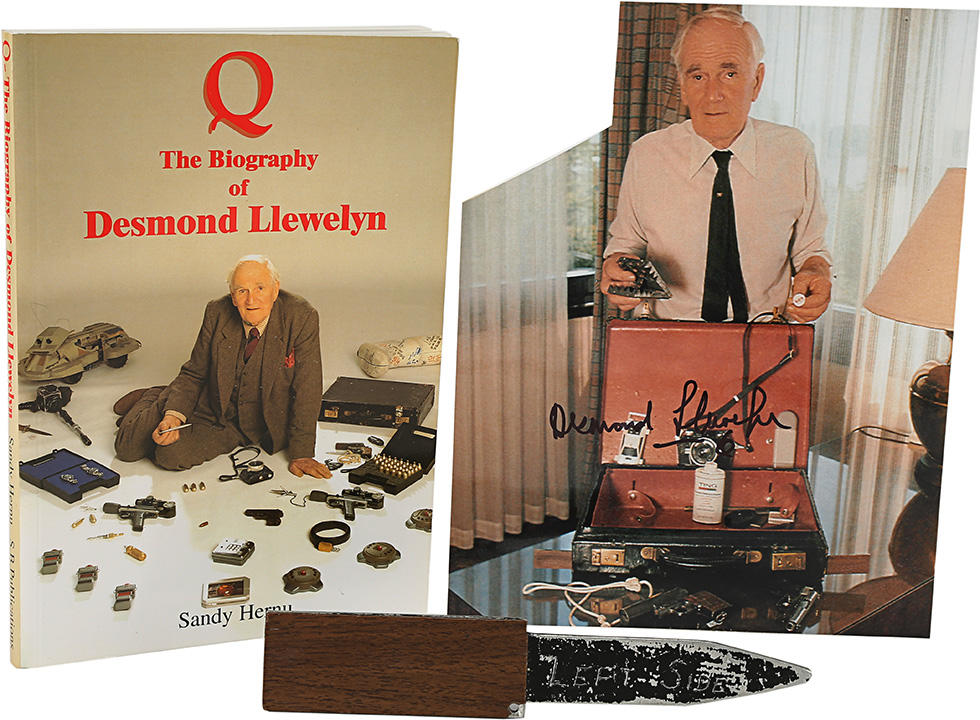 Q's (Desmond Llewelyn) Touring Briefcase Gadget Knife, Autographed Photo and Book