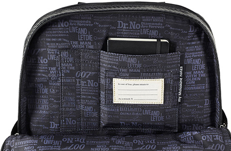 Moleskine 007 Limited Edition Classic Pro Backpack inside interior