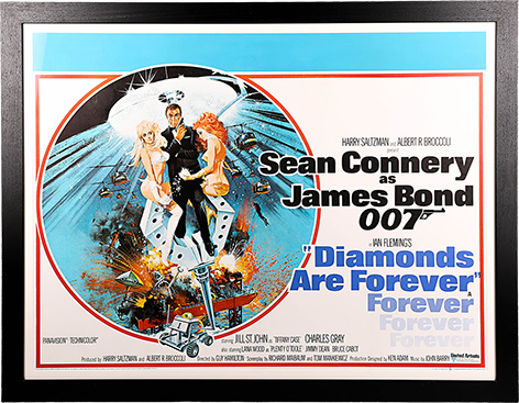 James Bond Diamonds Are Forever Poster Prop Store auction