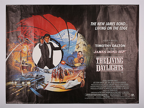 James Bond Living Daylights Poster Prop Store auction