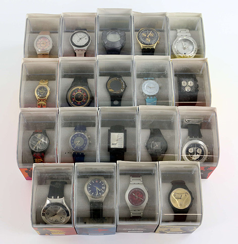 James Bond 007 Swatch collection including 20 cased 40th Anniversary watches 2