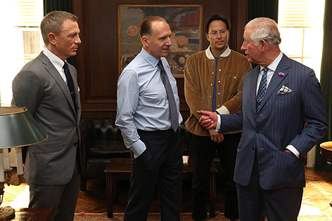 Prince Wales Bond 25 set visit M office Ralph Fiennes Cary Fukunaga
