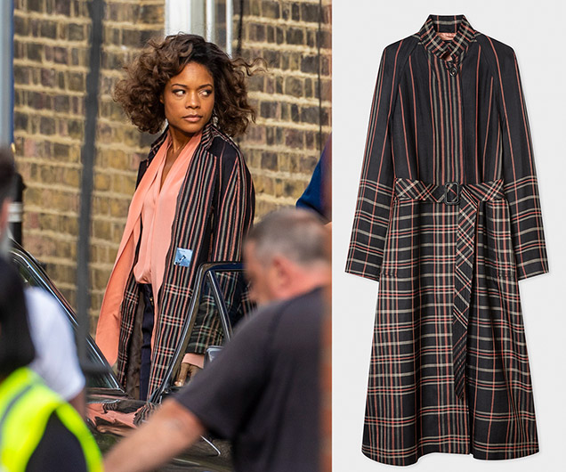Paul Smith coat Naomie Harris Moneypenny Bond 25