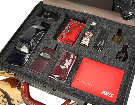 Samsonite promotional briefcase contents vodka car phone