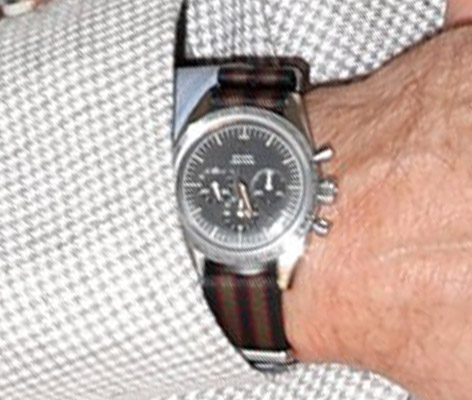 Daniel Craig Matera Omega Speedmaster on Goldfinger Strap No Time To Die press photo call