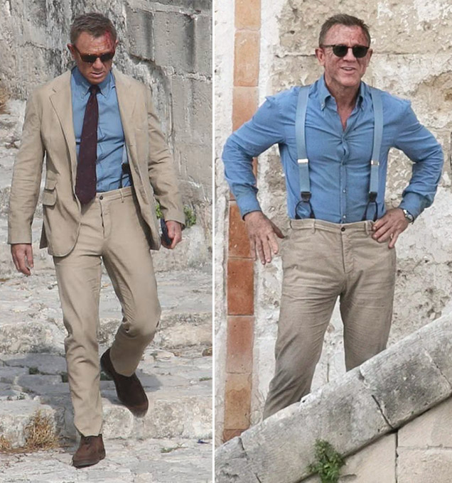 Daniel Craig Matera suit shirt trousers shoes James Bond No Time To Die