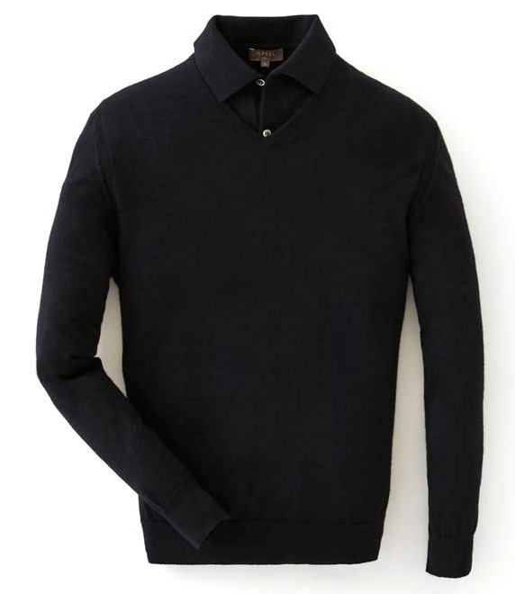 N.Peal black v-neck sweater polo shirt 007 collection james bod goldfinger