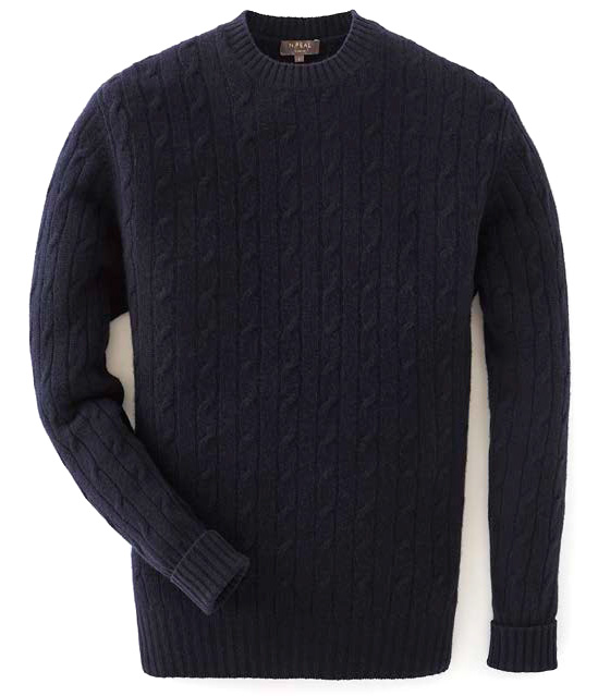 N.Peal navy cable crew neck sweater 007 collection james bond goldeneye