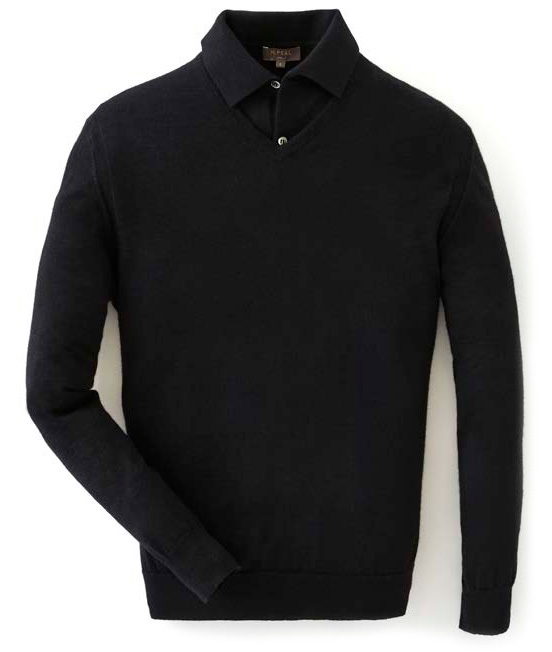 N.Peal black v-neck sweater polo cashmere 007 collection