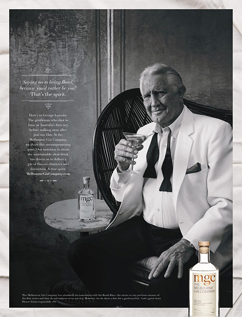 George Lazenby Melbourne Gin advertisement promo page