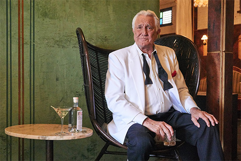 George Lazenby ad Melbourne Gin tuxedo