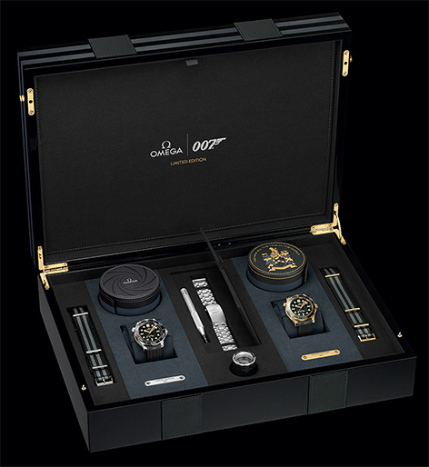 Omega Limited Edition OHMSS case with two Seamaster Diver 300M watches gold