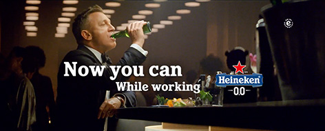 Heineken 0.0 James Bond Daniel Craig commercial No Time To Die Now you can while working